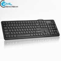KB940 USB Wired Russian Keyboard Black Multimedia Keyboard 108 Keys Low Noise Keypress Ergonomic Computer Desktop Keyboard
