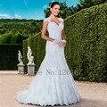 2017 Nova Moda vestido de Noiva Inferior Do Vestido De Casamento da Luva do Tampão Decalque Frisada Tribunal Trem Da Sereia Do Vestido de Casamento Vestido de Noiva