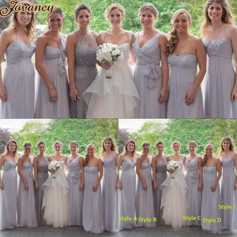 Fantastic Light Grey Chiffon Bridesmaid Dress Photos
