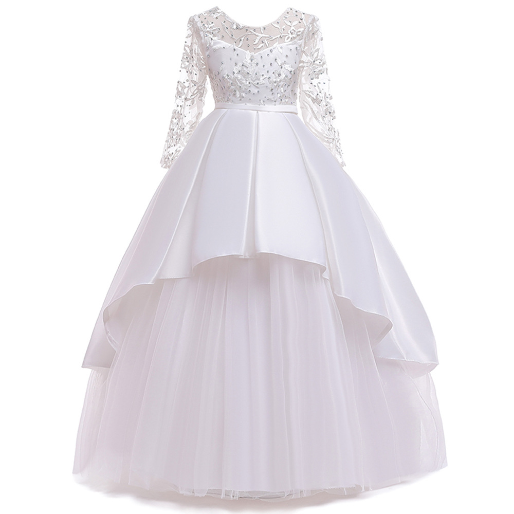 Top Sale Ballgown Long Sleeves Lace Flower Girl Dresses For Wedding Long Beaded  Birthday Girls Pageant Dress