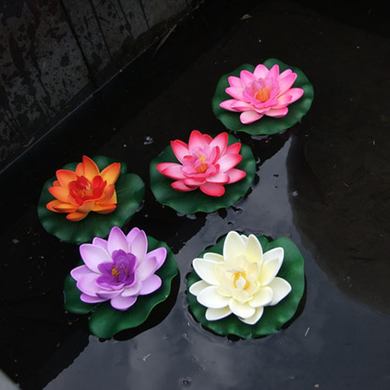 Artificial lotus floating water lily flower plants for Plastic floating pond plants