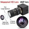 8MP 3264X2448 USB 웹캠 카메라 5-50mm 수동 Varifocal CS 렌즈 HD USB 산업용 감시 비디오 USB 카메라