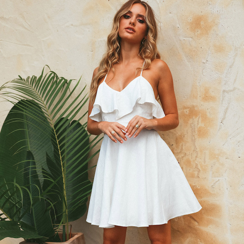 Casual V Neck Red Short Sling Sundress Sexy Spaghetti Strap Backless White Party Dress Ruffles Sleeveless Mini Club Formal Dress in Dresses from Women 39 s Clothing