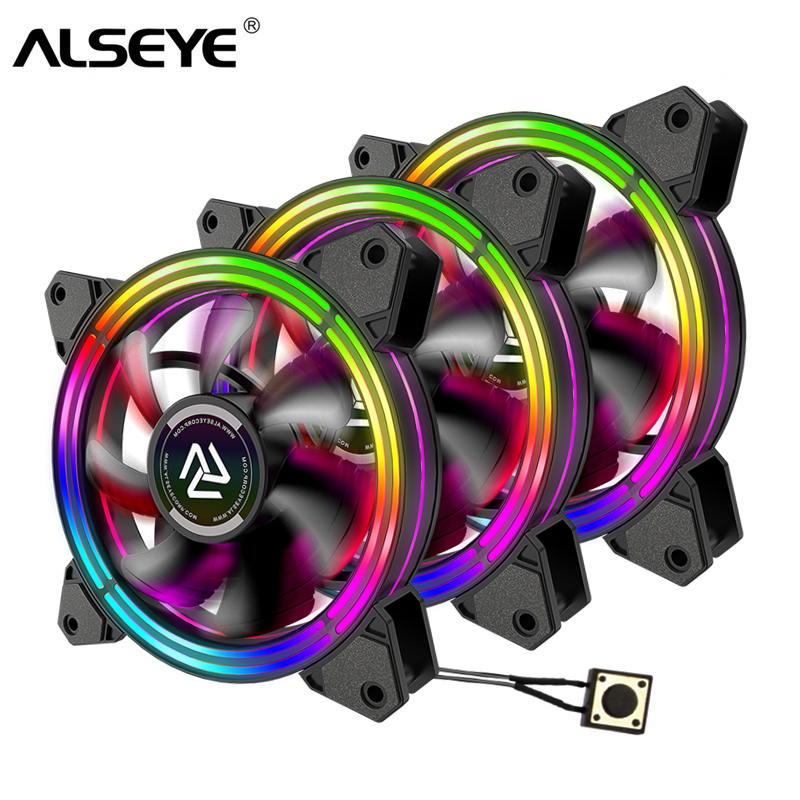 ALSEYE RGB Fan Adjustable PC Fan 120mm Cooling Fans (3pieces/set) Reset Key Control (HALO 3.0 New Arrivel)-in Fans & Cooling from Computer & Office    1