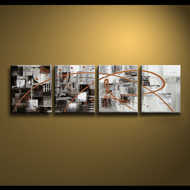 Framed 4 panel large black white and brown canvas art abstract oil painting wall picture interior
