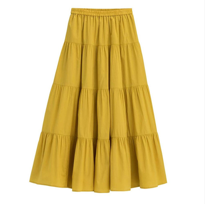 2019 Spring Autunm Women Ruffle Skirt,fashion Summer Cotton Linen Skirts,plus Size Long Maxi Skirts 6xl 7xl Red Purple Pink