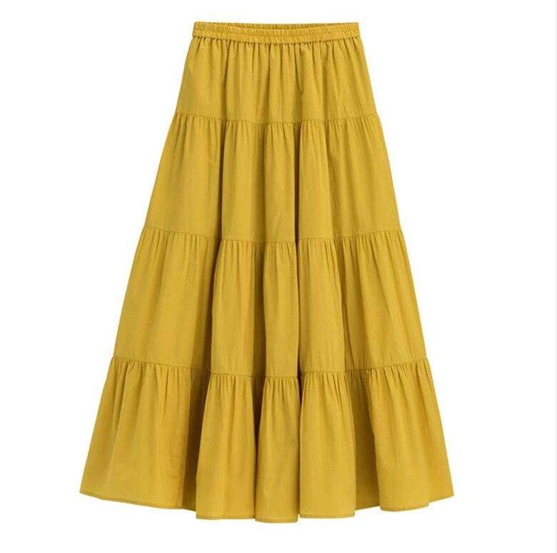 2020 Spring Autunm Women Ruffle Skirt,fashion Summer Cotton Linen Skirts,plus Size Long Maxi Skirts 6xl 7xl Red Purple Pink