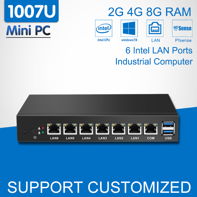 Mini PC 6 Intel 82583V Gigabit Ethernet LAN Celeron 1007U Mini Industrial Computer Desktop pfSense Router Firewall Windows 7/10 hot sale celeron mini pc desktop computers dual lan mini pc x29 j1800 j1900 2 gigabit lan hdmi vga windows 7 win10 ubuntu