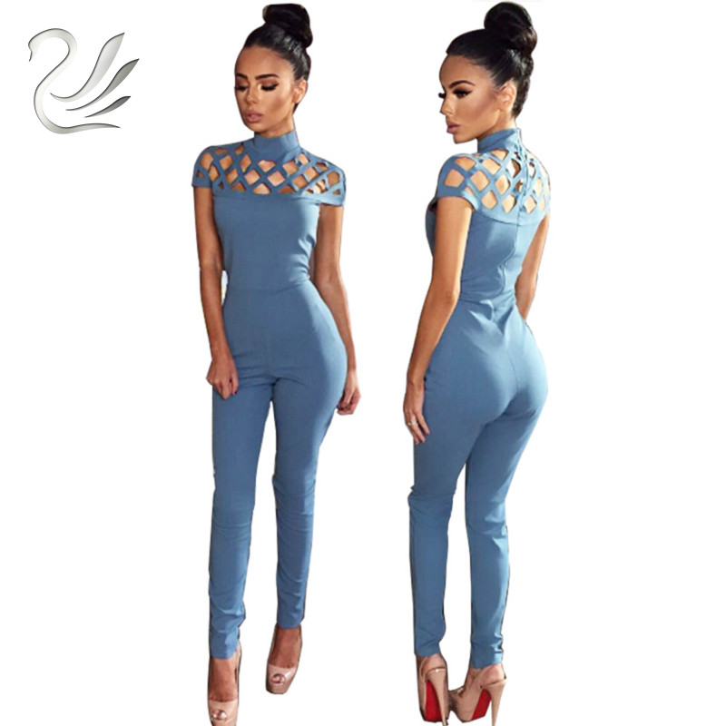 Rompers Womens   Jumpsuit   2019 Autumn Elegant High Neck Cut Out Tight Club Party Women Bodycon   Jumpsuit   Sexy Bodysuit Overalls