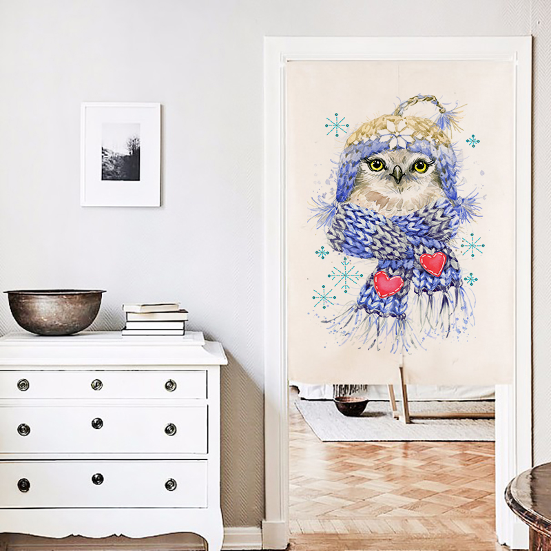 the owl print Kitchen Door Curtain Free Shipping! Linen Cotton Fabric Width 85cm,Length 90cm/120cm,Short Curtains For Kitchen