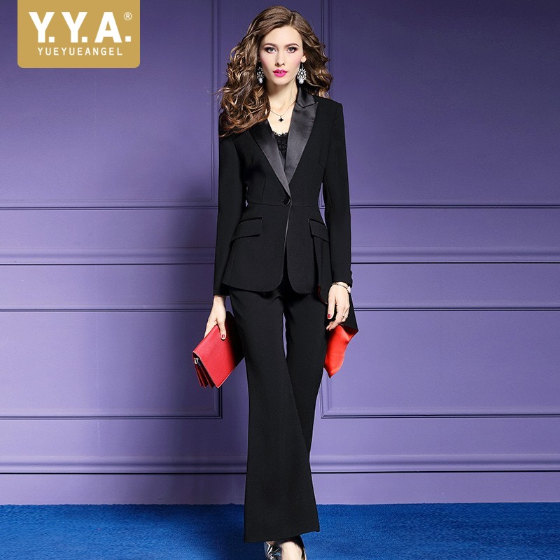 2018 Новый Повседневное с длинным рукавом одной кнопки блейзер расклешенные брюки комплекты из двух предметов Бизнес Офисные женские туфли к