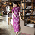 TIC-TEC women long qipao chinese traditional elegant vintage dress lace oriental dresses cheongsam purple womens evening P3250