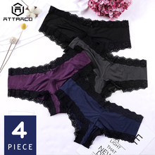 ATTRACO Women Underwear Thong Lace g String sexy Panties Tanga Briefs lingerie Nylon Bow Tie mid waist cozy 4 Pack Hot Sale