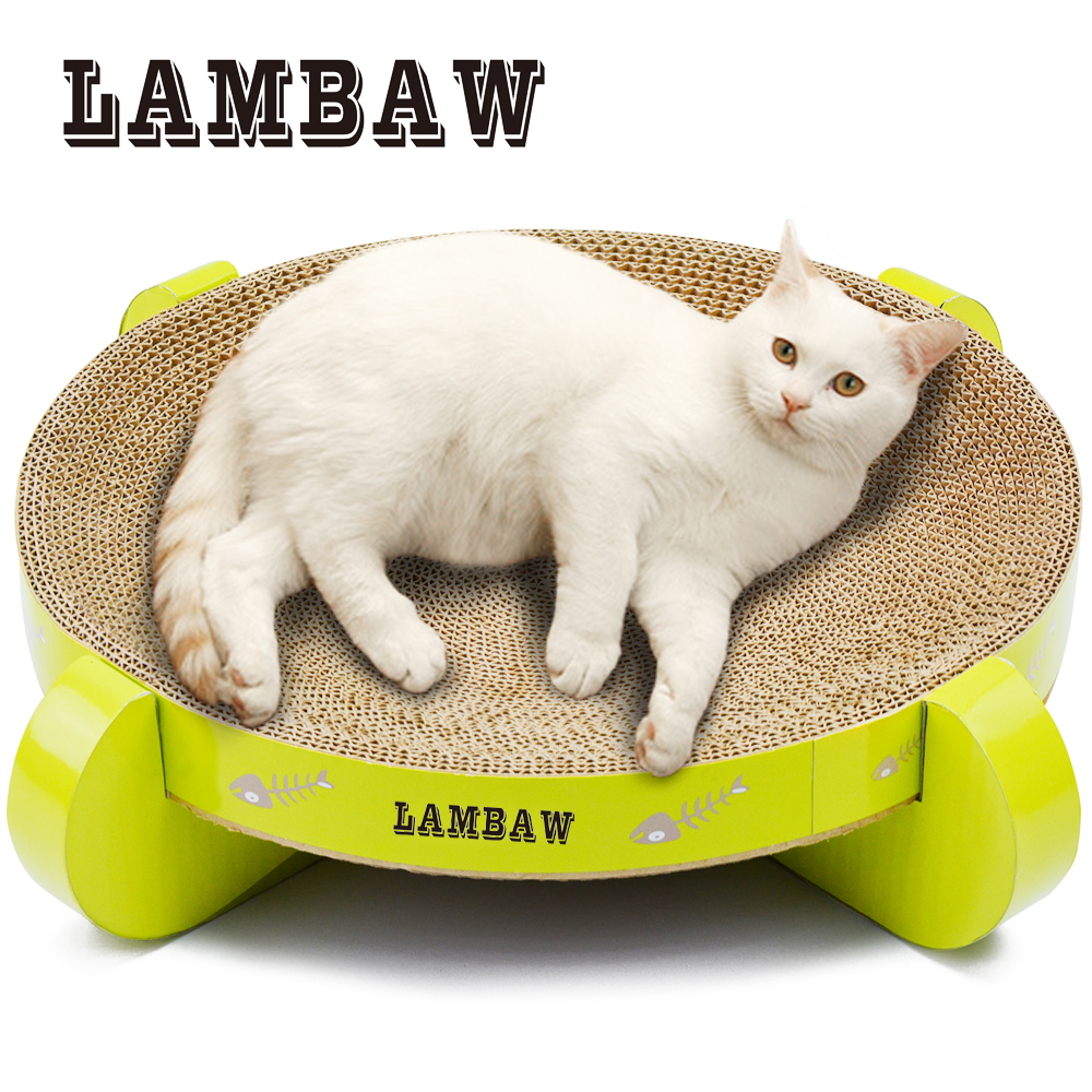 LB-0082 16.9 Inch UFO Cat Scratcher Cat Product Bed Pet Products Couch Cardboard Paper Cat Toys Scratching Pad-Green Color