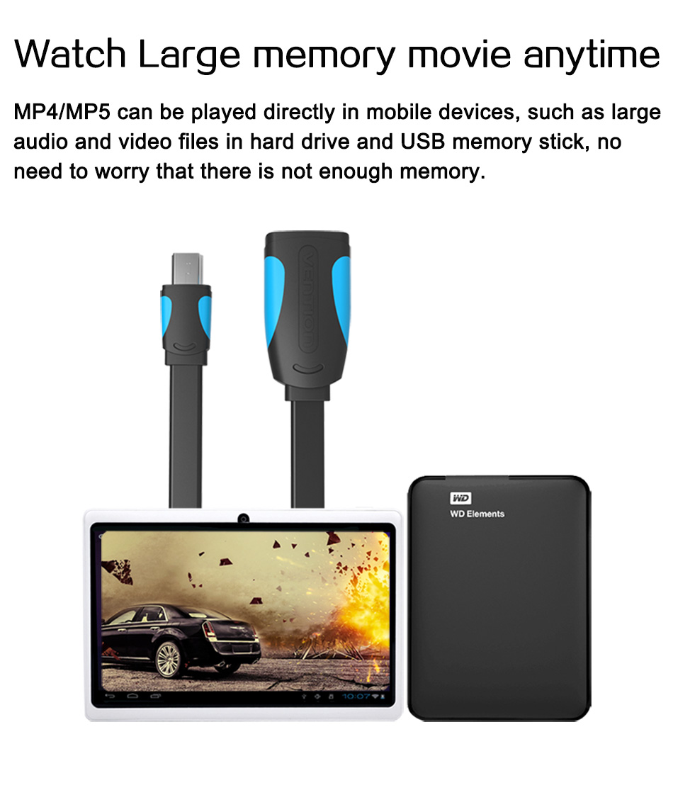 Vention Mini USB OTG Cable And USB OTG Adapter For GPS Camera Mobile Phone Tablet And More 8