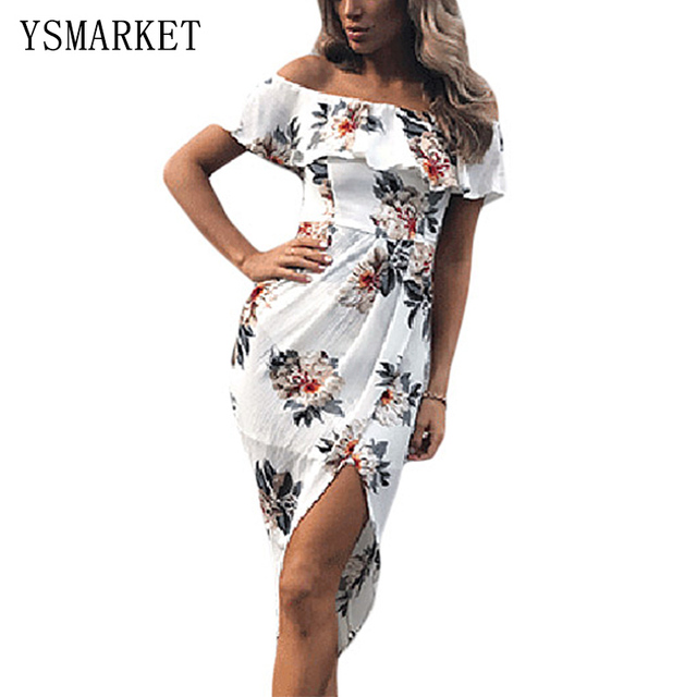 cb208dae41b7b Summer Women Off Shoulder Ruffle Midi Dress 2017 New Elegant Floral Print  High Waist Bodycon Pencil Dress Party Vestidos E61572
