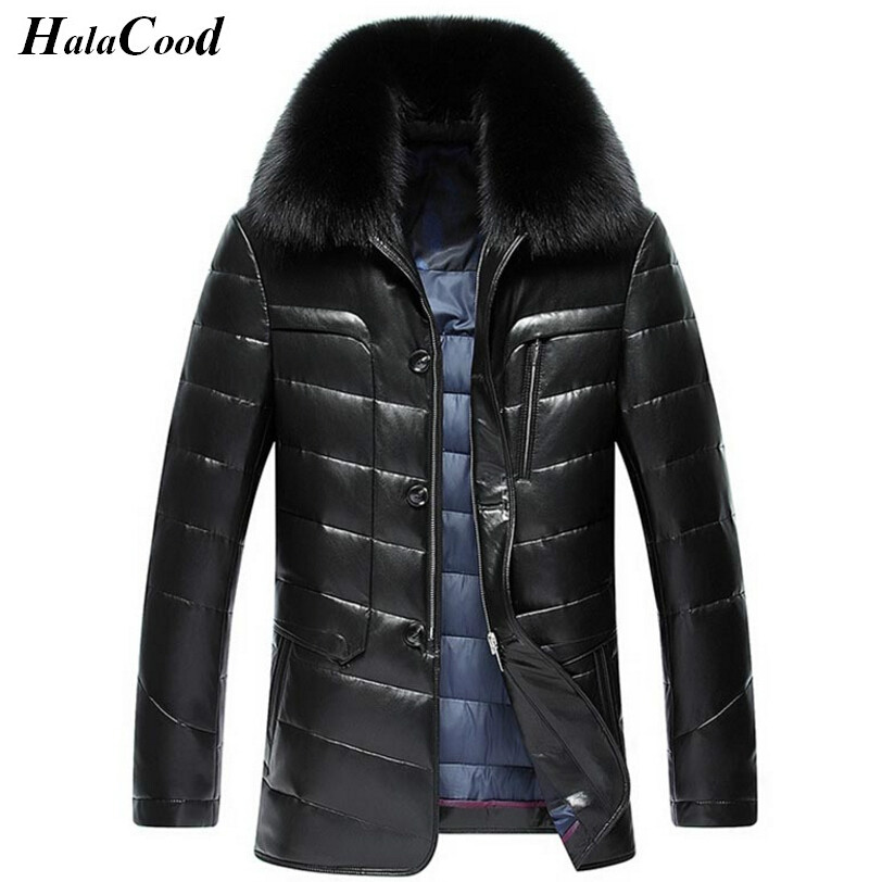 Hot Sell Winter Fashion Luxury   Down   Jacket Men Leather Jacket Male   Down     Coat   Jackets High Quality Windproof Warm Faux Fur Collar