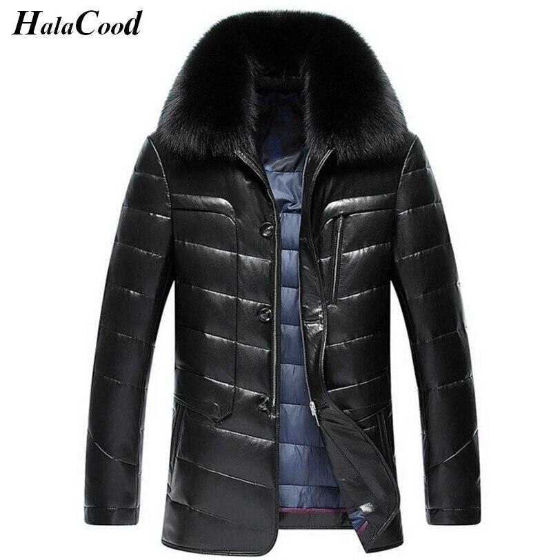 Vente chaude Hiver Mode Luxe Doudoune Hommes Veste En Cuir Homme Manteau Vestes Coupe-Vent de Haute Qualité En Fausse Fourrure Chaude collier