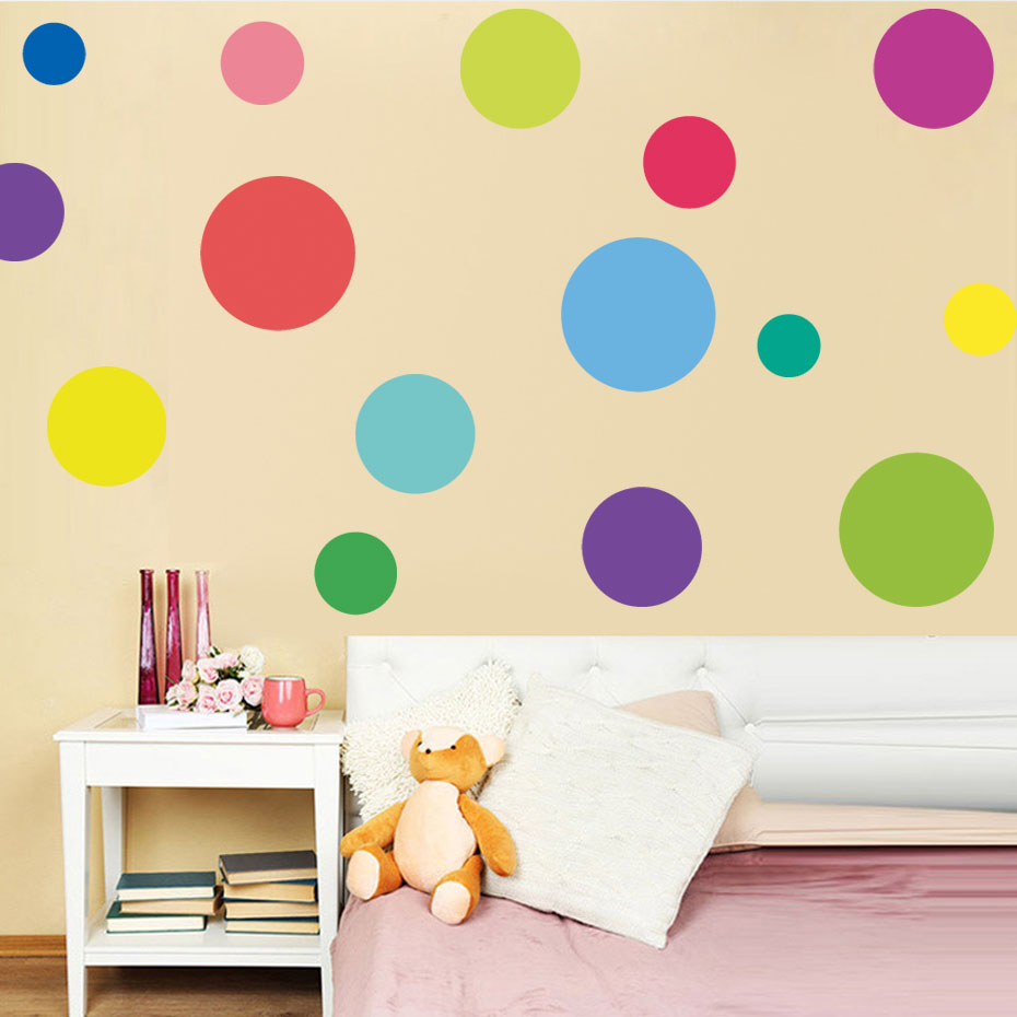Background Colorful Room: Mix Size Colorful Polka Dot Wall Sticker Kids Room Nursery