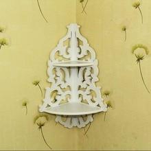 2017 nueva moda y azada de venta Vintage decoración blancas de flores de madera de esquina de pared de almacenamiento estante de esquina