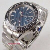 Chegam novas 41mm parnis mostrador azul safira vidro data implantação fecho miyota 8215 relógio automático dos homens ss|Relógios mecânicos| |  -