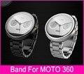 De calidad superior negro plata 22 mm correa de acero inoxidable para Moto 360 banda Motorola Moto 360 reloj inteligente + herramientas + biela