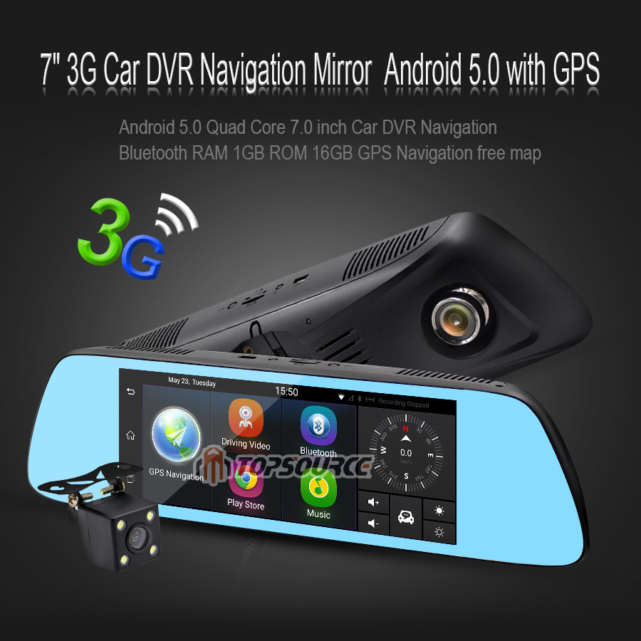 TOPSOURCE 7 Special Car DVR Camera Mirror Android 5.0 GPS navigation Bluetooth 16G Dual Lens FHD 1080p Video Recorder Dash Cam