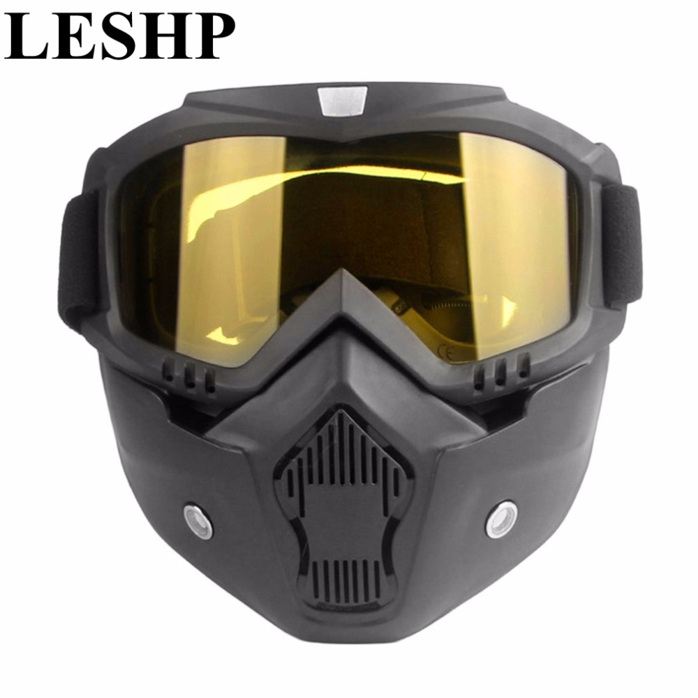 LESHP Vintage Motocross Goggles Glasses Cycling Eye Ware MX Off Road ski Helmets Goggles with Adjustable Elastic Strap adjustable elastic band night vision goggles glass children protection glasses cool green lens eye shield with led