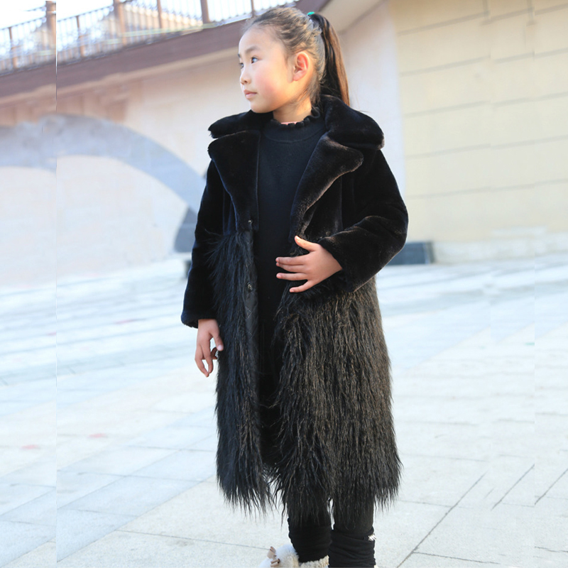 2018 Fashion Children Winter Girl Jacket Coat with rabbit fur long Hairy Warm Thick Fur Collar Hooded long Coats For Teenage 12Y basic editions fall winter brown metallic silk fabric cotton coat with rabbit fur collar with belt covered button 7001d11