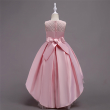Embroidery Girls Party Dance Dress Lace Beading Kids Princess Dresses Flower Bow Children Costumes Girl Gowns retail 2018 new style girl lovely flower girl dresses floor length girls dress bridal gowns children party dress lace003