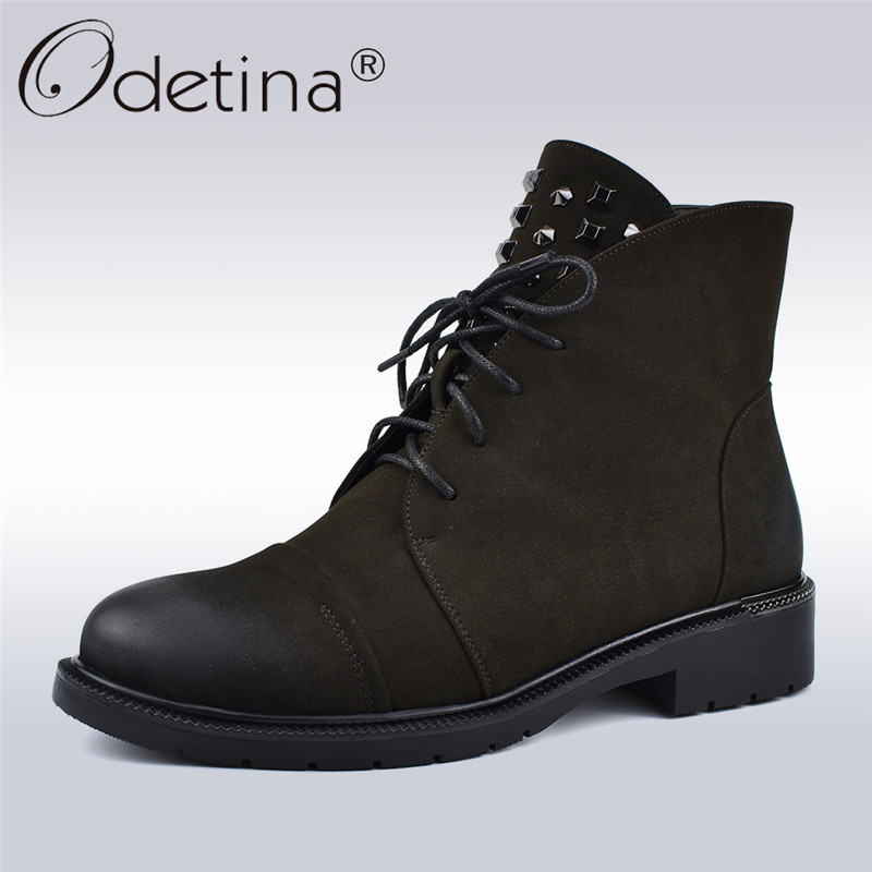 Odetina New Arrive Fashion Rivet Lace Up Ankle Boots Black Women Chunky Low Heel Booties Studded Winter Warm Shoes Plus Size 41 michael kors new navy blue women s size xs studded hi low crewneck sweater $130