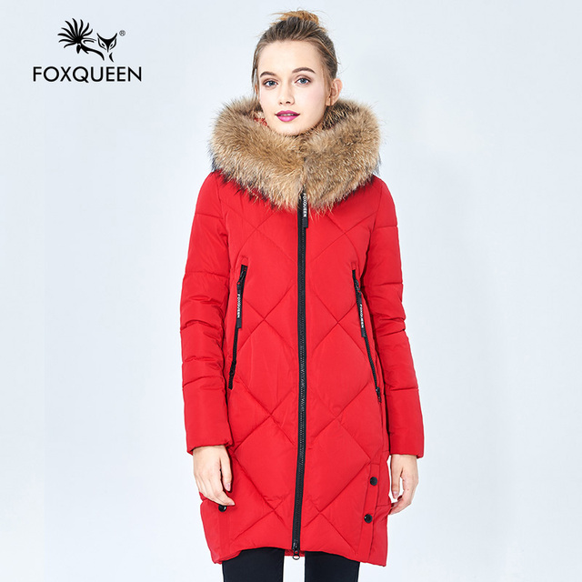 Foxqueen 2016 New Winter Women's Girl's Casual Hooded Padded Slim Thick Cotton Coat With Fur CollarHigh Quality Free Shipping