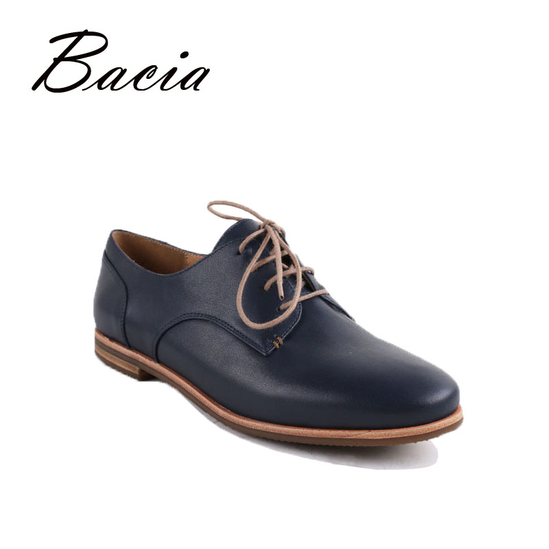 Bacia Genuine Leather Flats Women Quality Handmade Casual Flats Lace-up Soft Leather Free Style Flats Russion Size VC007