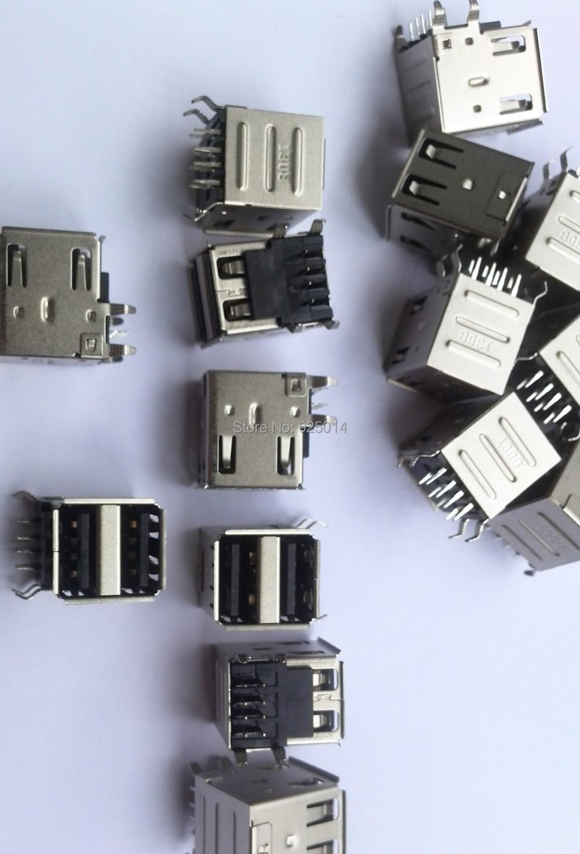 10PCS DOUBLE USB A FEMALE SOCKET PCB MOUNT Soldering