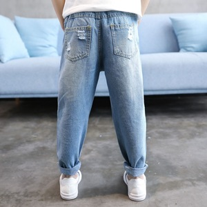 Image 2 - Kid Boy Jeans Children Ripped Jean Pants Spring Autumn Boys Casual Solid Broken Hole Denim Trousers for Teen Kids 4Y 14Y