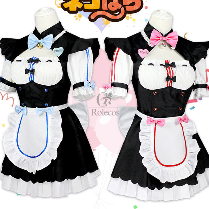Nekopara Chocola Vanilla Cosplay Sexy Cat Maid  Costume Women Servant Dress