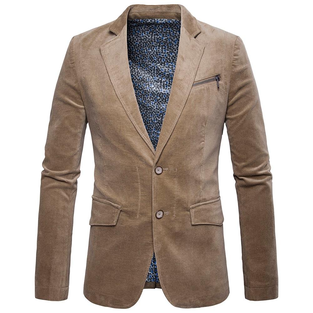 bleiser masculino blaser Brand Casual Blazers Double Button Stylish Slim Corduroy Blazer Male Fashion Suit Jacket High Quality