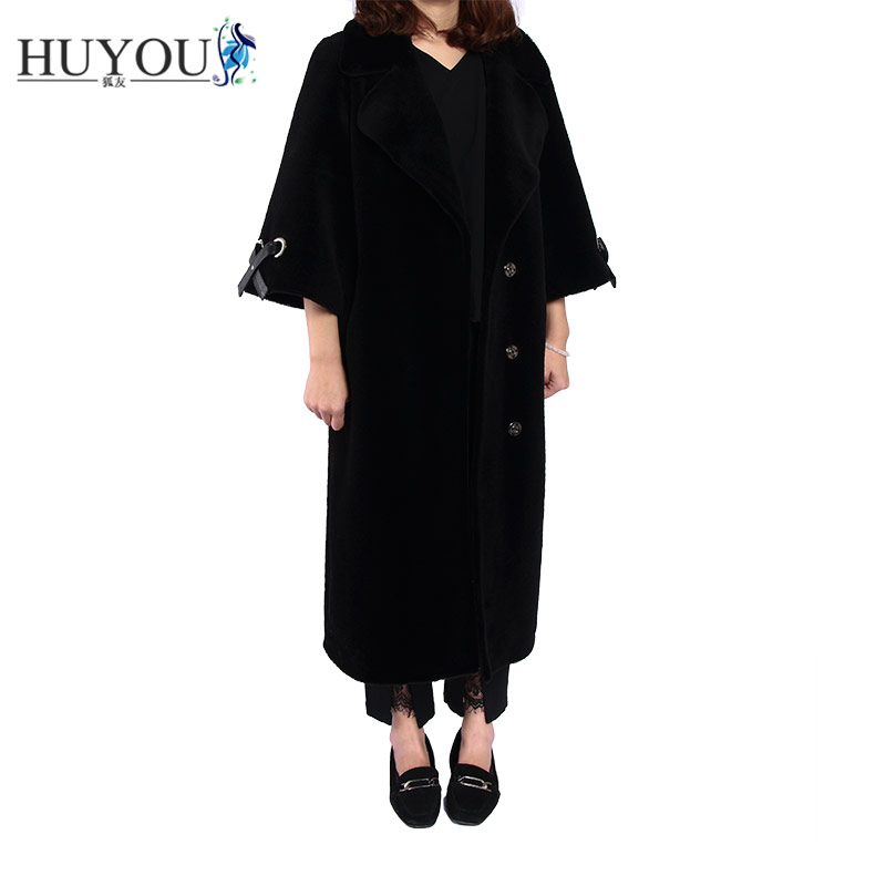 HUYOU 2018 Lady's New Long Style Of Wool Coat Women Seven Sleeve Winter Casual Coat Female Autumn Free Shipping JM171062