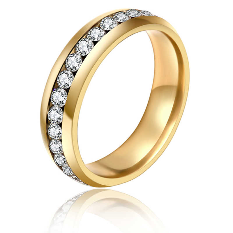 Gold  Colour  Rhinestones  Finger Rings Gold Crystal Ring Wedding Rings For Women 361L Stainless Steel Rhinestone Jewelry