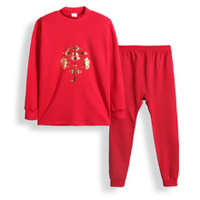 Stitch children underwear set red cotton in the autumn and winter a year of fate men and women underwear cotton pajamas