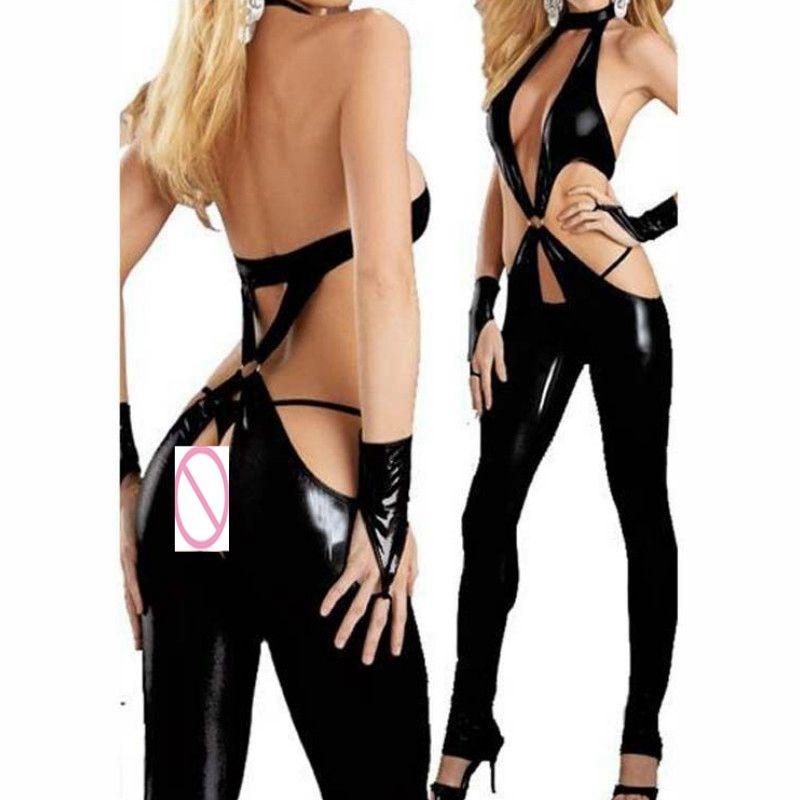 Sexy Wetlook Faux Leather Catsuit PVC Latex Bodysuit Lingerie Open Crotch Clubwear Fetish Hot Erotic Pole Dance PU Body Suit