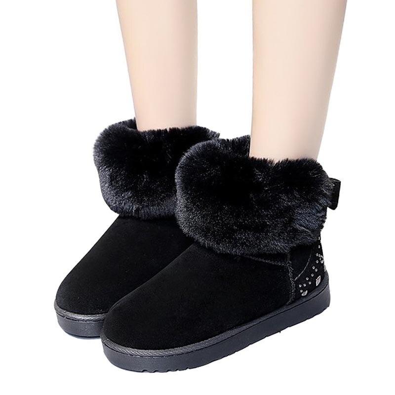 De Nouvelle Neige Plate Noir 2019 Glissent Chaussures Cheville forme Chaudes Casual Rivet Plat Femmes Mujer Coton Bottes vert Fourrure Botas rose Pour Sur D'hiver gris 8zxdTwqz