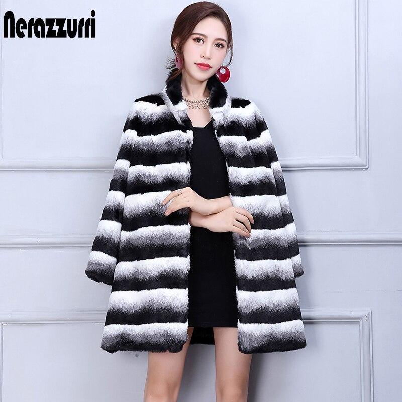 Nerazzurri Winter Chinchilla Fur Coat Women Fashion 2019 Runway Long Sleeve Luxury Thicken Plus Size Faux