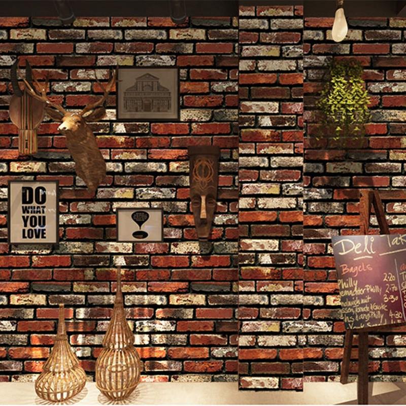 PVC Waterproof Brick Wallpaper Restaurant Cafe Living Room Self-Adhesive Wall Sticker Vintage Home Decor Vinyl Wall Covering 3 D