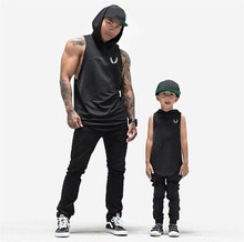 Bodybuilding Stringer Tank Top with hooded Sleeveless Gyms Clothing Fitness