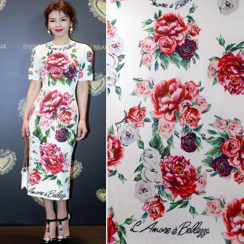 Paeonia lactiflora printed fabrics handmade holiday dress flower fabric