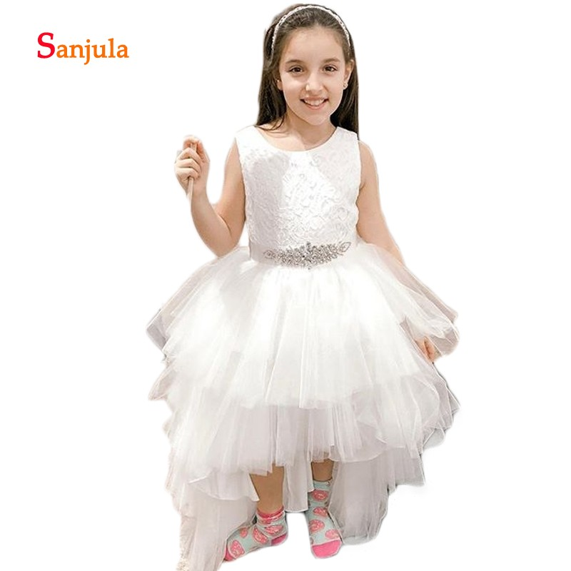 Lace   Flower     Girls     Dresses   Beaded Tank Puffy Ball Gown Princess   Girls   Holy Communion   Dresses   High Low Pageant Party Gowns D423