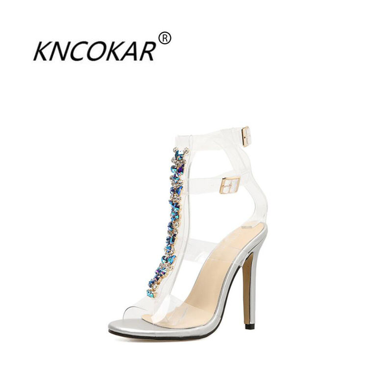 KNCOKAR 2018 The new women of summer are fashionable and colorful Diamond chain transparent stiletto heels sexy crystal sandalsKNCOKAR 2018 The new women of summer are fashionable and colorful Diamond chain transparent stiletto heels sexy crystal sandals