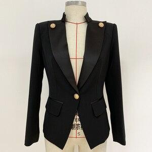Image 2 - Veste de haute qualité avec col en Satin et bouton simple de styliste pour femmes, veste 2020