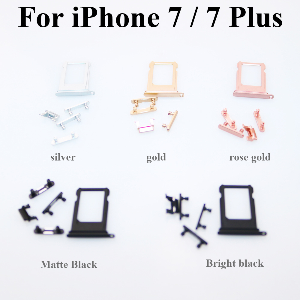 ChengHaoRan New Sim Card Tray For IPhone 7 7 Plus Volume Vibrate Key Switch Power Lock Side Button Set Housing Replacement Parts
